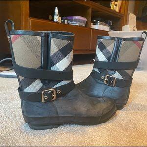 Burberry Nova Check Rain Boots -Black Mid-Calf